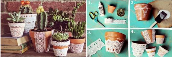 decorar vasos de plantas com renda