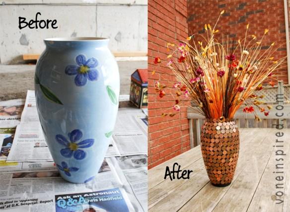 Transformando decorando revestindo vaso com moedas