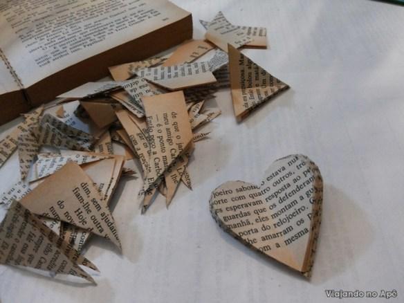 coraçao de papel paginas folhas de livros