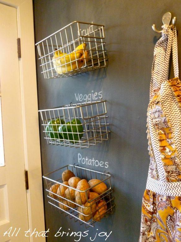cestos de parede frutas legumes decoracao