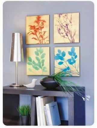 quadro folhas molde tela