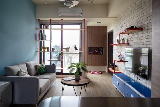 sala tijolinho parede azul decoracao canos