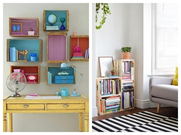 caixotes de madeira livros decoraçao organizaçao home office escritorio