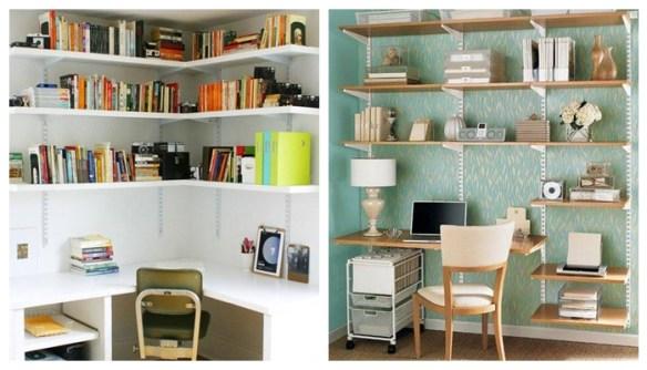 prateleiras com trilhos home office escritorio decoraçao organizaçao