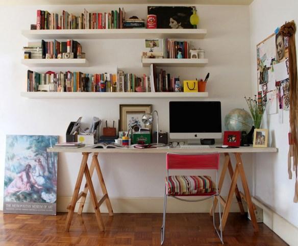 prateleiras suporte embutido mesa cavalete home office escritorio decoracao organizacao
