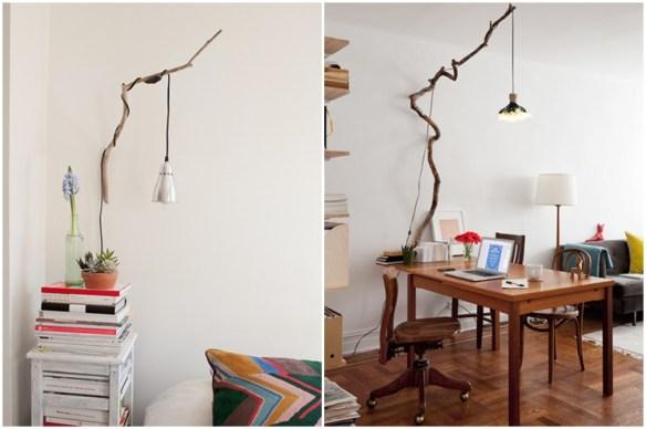 galhos suporte luminaria ideias criativas decoraçao