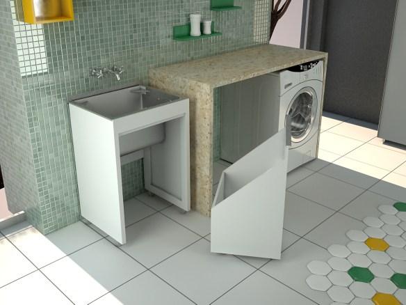 Cesto de roupa suja na area servico lavanderia ideias