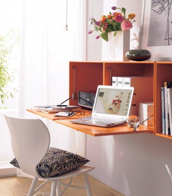 mesa trabalho suspensa armario ideias espacos pequenos