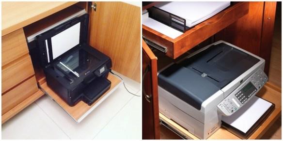 prateleira deslizante impressora armario