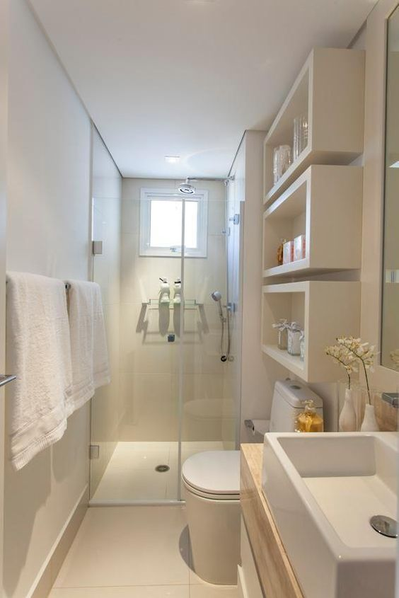 banheiro branco clean nichos parede