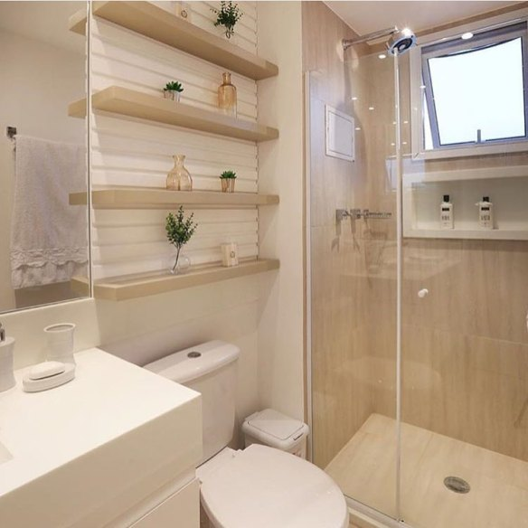 banheiro decorado tons bege creme porcelanato madeira