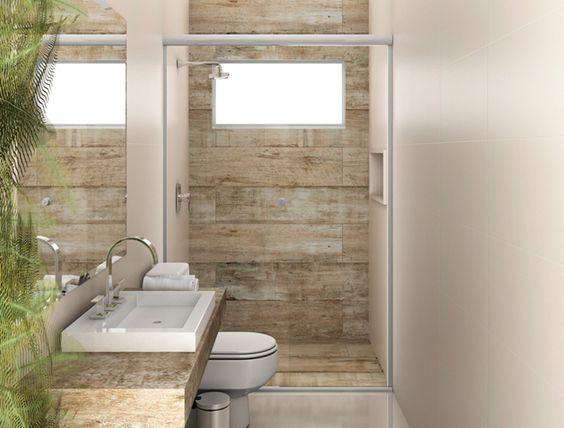 banheiro pequeno decorado porcelanado madeira