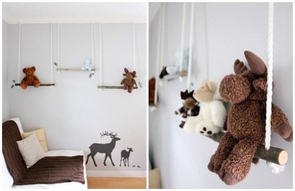 bichinhos pelucia balanco organizacao brinquedos quarto infantil