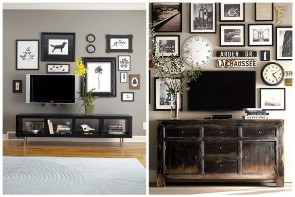 composicao tv parede quadros objetos decorativos 2