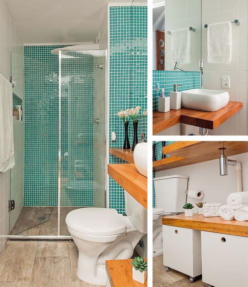 decoracao banheiro pastilhas verdes porcelanato imita madeira