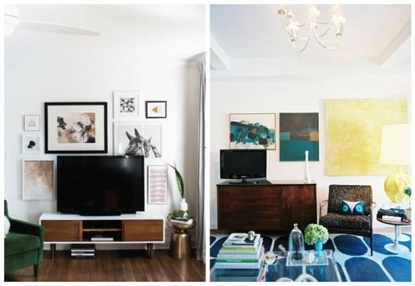 ideias camuflar esconder disfarcar tv decoracao quadros parede tv