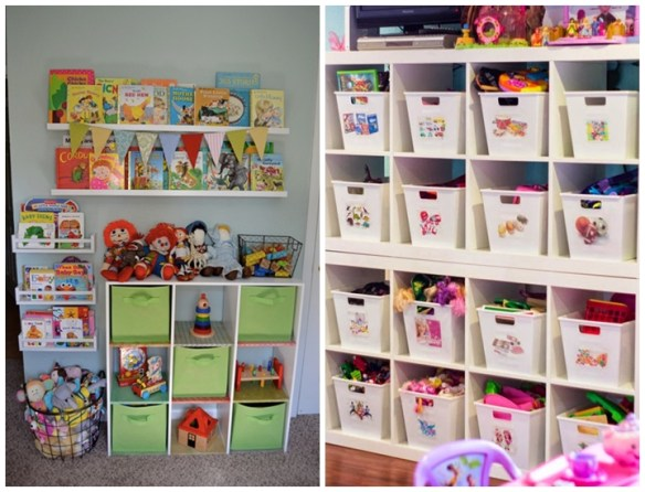 organizacao quarto criancas brinquedos organizados prateleiras livros caixas cestos
