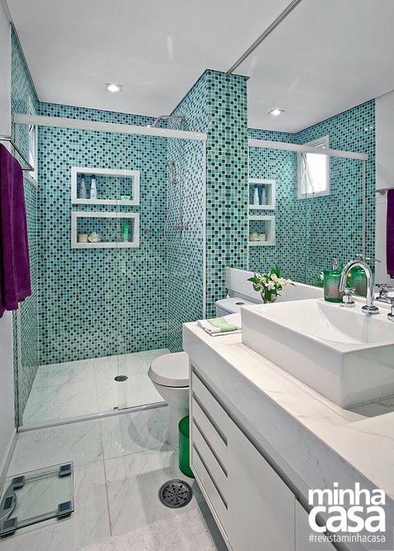 pastilhas verdes mescladas banheiros decorados