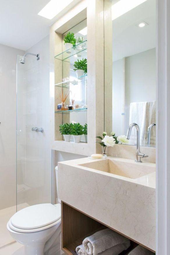 prateleiras vidro banheiro cuba escavada esculpida