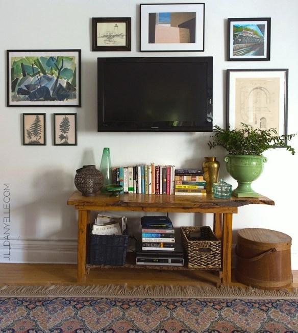 tv parede decoracao composicao quadros