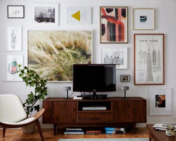 tv rack parede quadros decoracao ideias