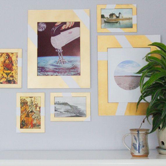 molduras decoradas personalizadas douradas ideias decoracao composicao quadros parede