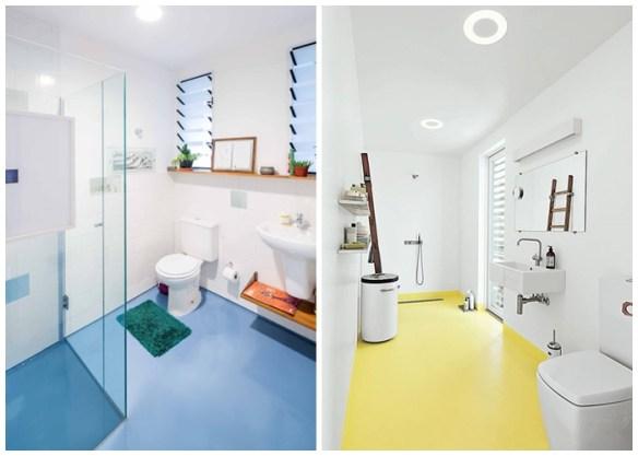 O porcelanato líquido também pode ser aplicado no banheiro.