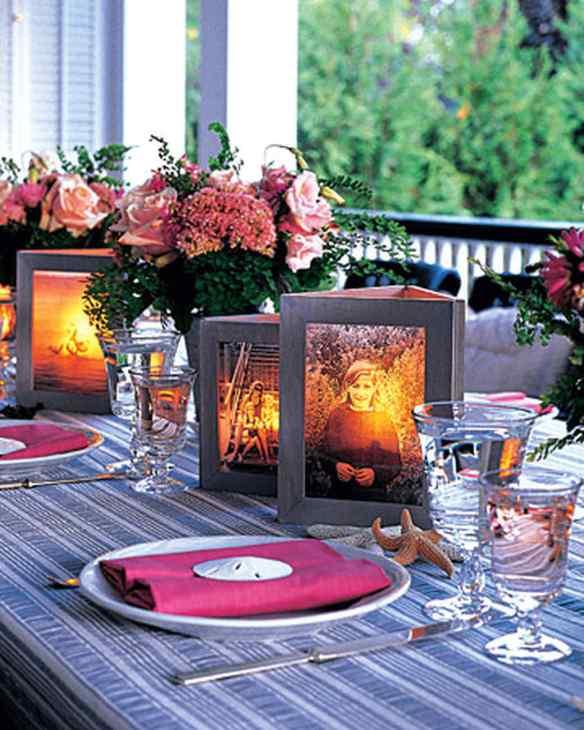 centro de mesa enfeite luminaria de mesa fotos porta retrato faca voce mesmo diy reutilizar molduras reaproveitar reciclar