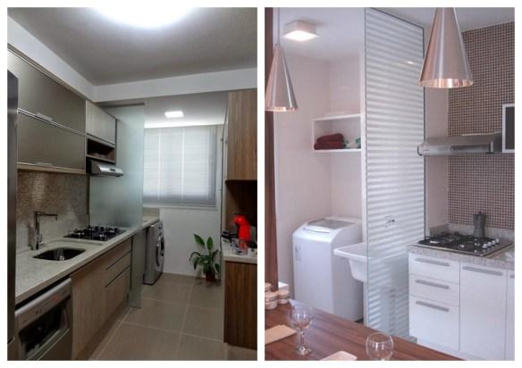 meia divisoria vidro cozinha area de servico lavanderia separacao parcial ambientes