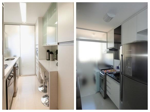 separar cozinha da area de servico divisoria lavanderia porta correr vidro jateado cozinha americana clean banquetas bancada
