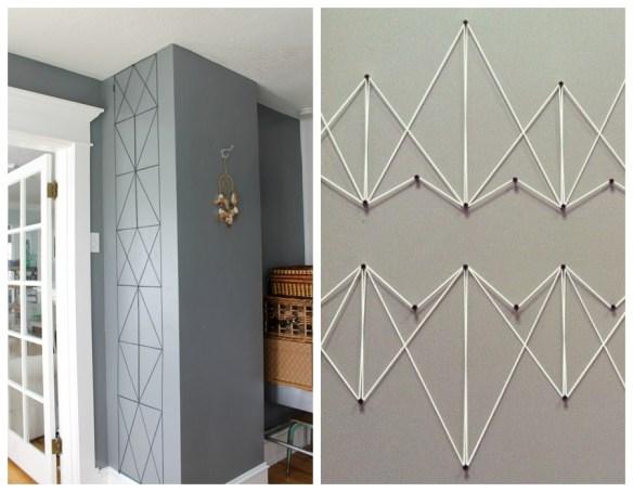 decoracao parede com linhas e pregos geometria formas geometricas decoracao criativa