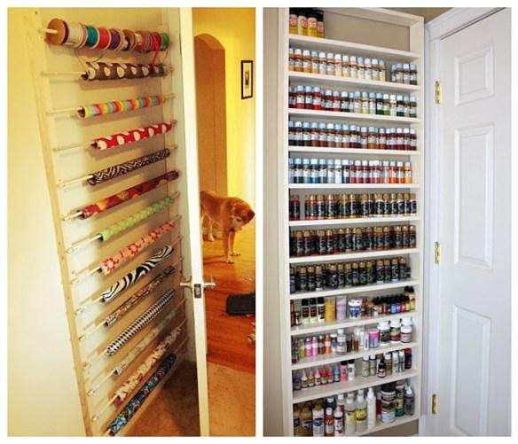 organizacao atelie armazenar frascos potes tinta fitas rolo papel atras da porta ideias pequenos espacos 2