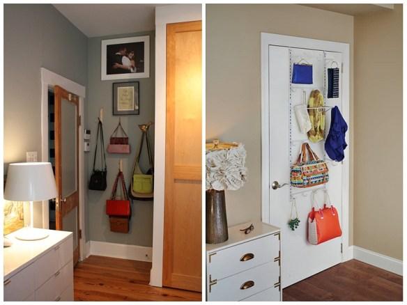 organizacao bolsas parede atras da porta cabideiro ideias pequenos espacos