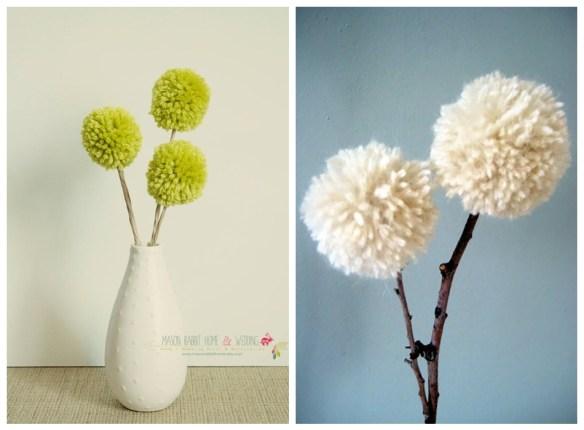pompom flores decoracao facil rapida barata faca voce mesmo diy arranjo mesa