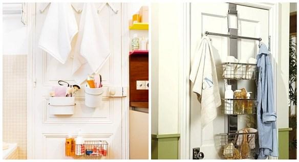 porta toalhas cestos atras da porta banheiro ideias ambientes pequenos reduzidos