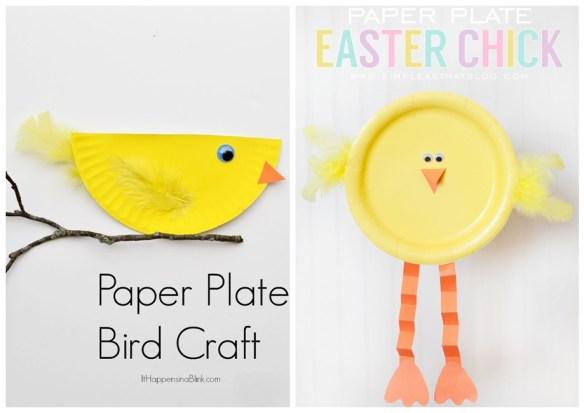 projetos faceis artes para fazer com crianças ideias criativas prato de papel decoracao pintinho passarinho
