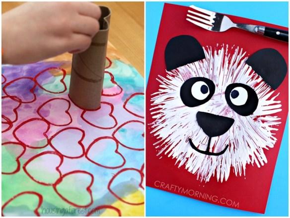 atividade artes criancas carimbo rolo de papel coracao garfo urso panda