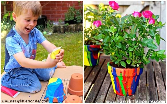 atividades artes criancas decoracao vasos tinta