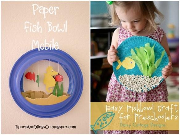 atividades artes faceis para criancas decoracao parede pintura prato de papel aquario peixes 5
