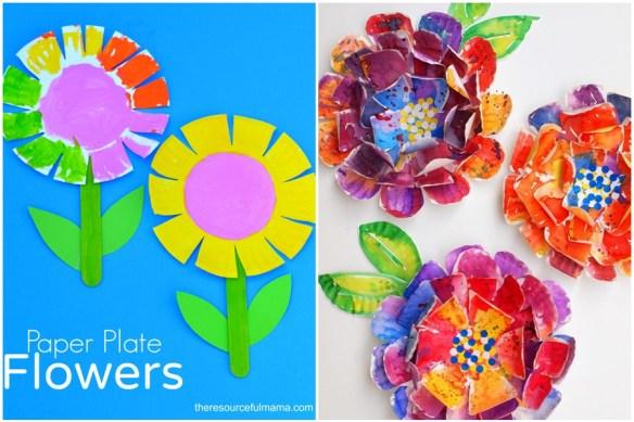 atividades criancas pintura cortes recortes prato de papel flores