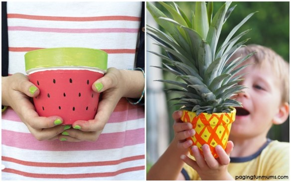 atividades criancas vasos decorados planta vaso barro ceramica terracota ideias divertidas vaso abacaxi melancia