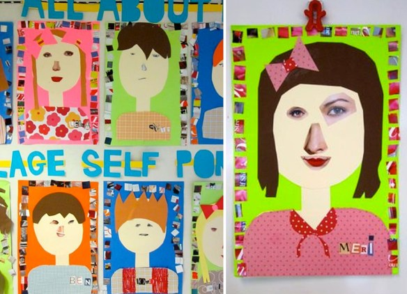 autorretrato atividades criancas recorte e cole colagens quadro decoracao