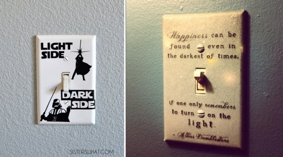 espelho interruptor decorado decoracao criativa harry potter star wars light switch plate