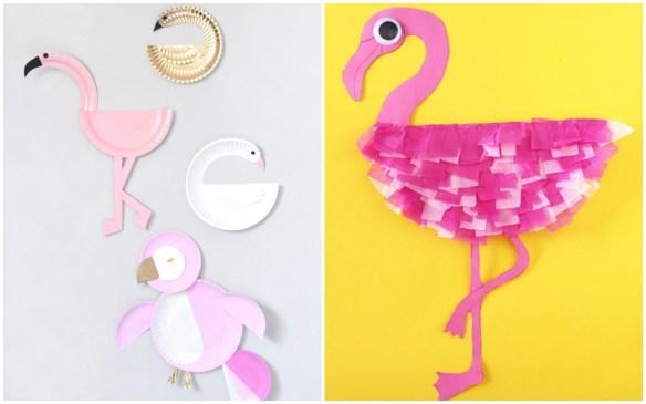 projetos faceis artes para fazer com crianças ideias criativas prato de papel decoracao flamingo pato cisne pinguim 3