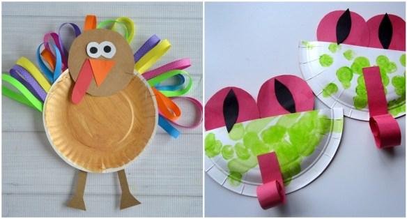 projetos manuais artes faceis para criancas decoracao parede prato de papel peru sapo 2