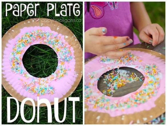 projetos manuais artes faceis para criancas prato de papel donut
