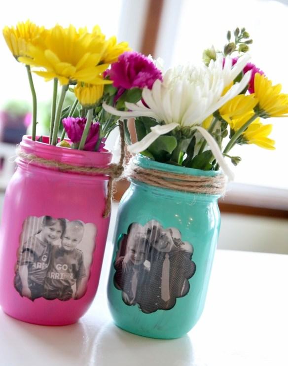 vaso flores plantas pote frasco vidro com fotos fotografia faca voce mesmo diy mason jar picture frame vase 2