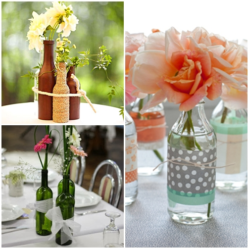 arranjo de flores com garrafas como decorar garrafas