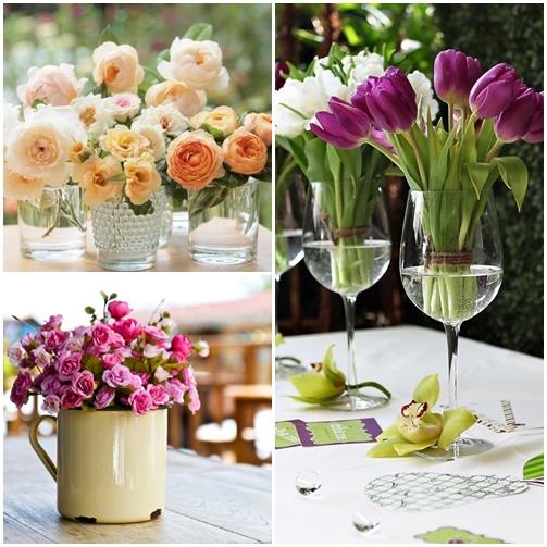 arranjos de flores canecas copos taças