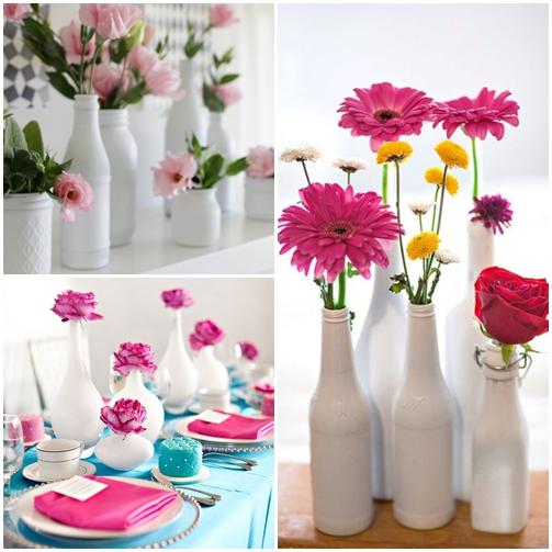 arranjos flores frascos garrafas potes brancos